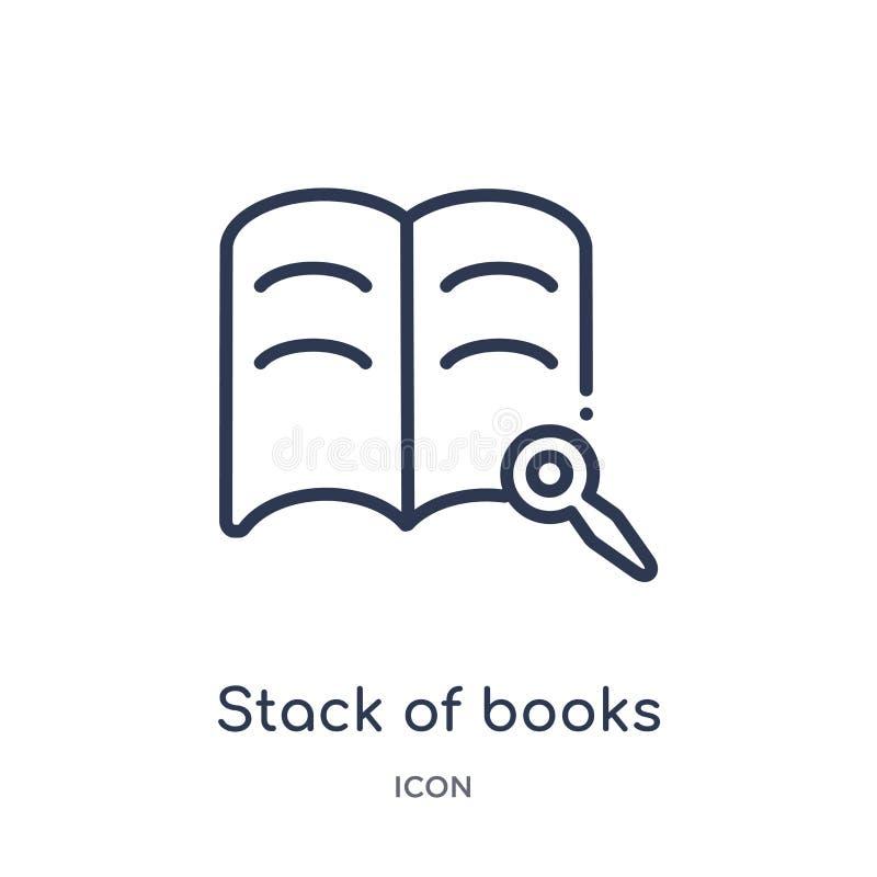 Lineaire stapel van boeken en meer magnifier pictogram van de inzameling van het Onderwijsoverzicht Dunne lijnstapel van geïsolee royalty-vrije illustratie