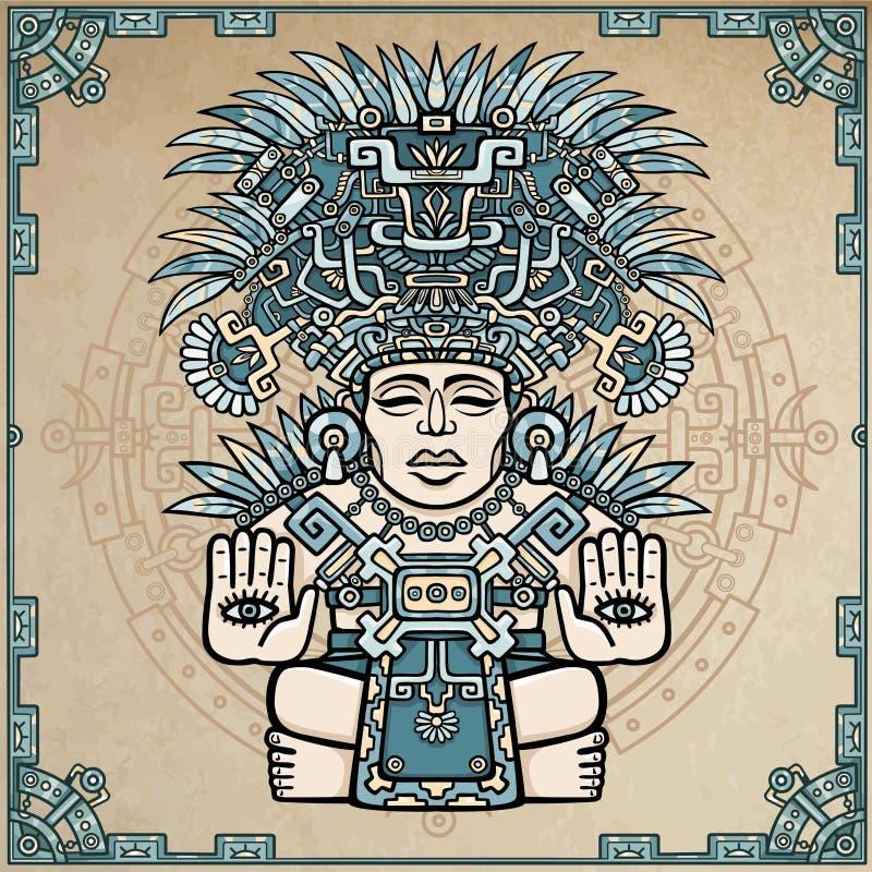 Lineaire tekening: decoratief beeld van oude Indische deity royalty-vrije illustratie