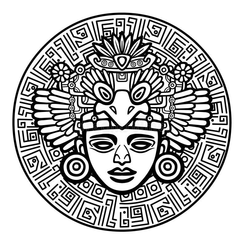 Lineaire tekening: decoratief beeld van oude Indische deity vector illustratie