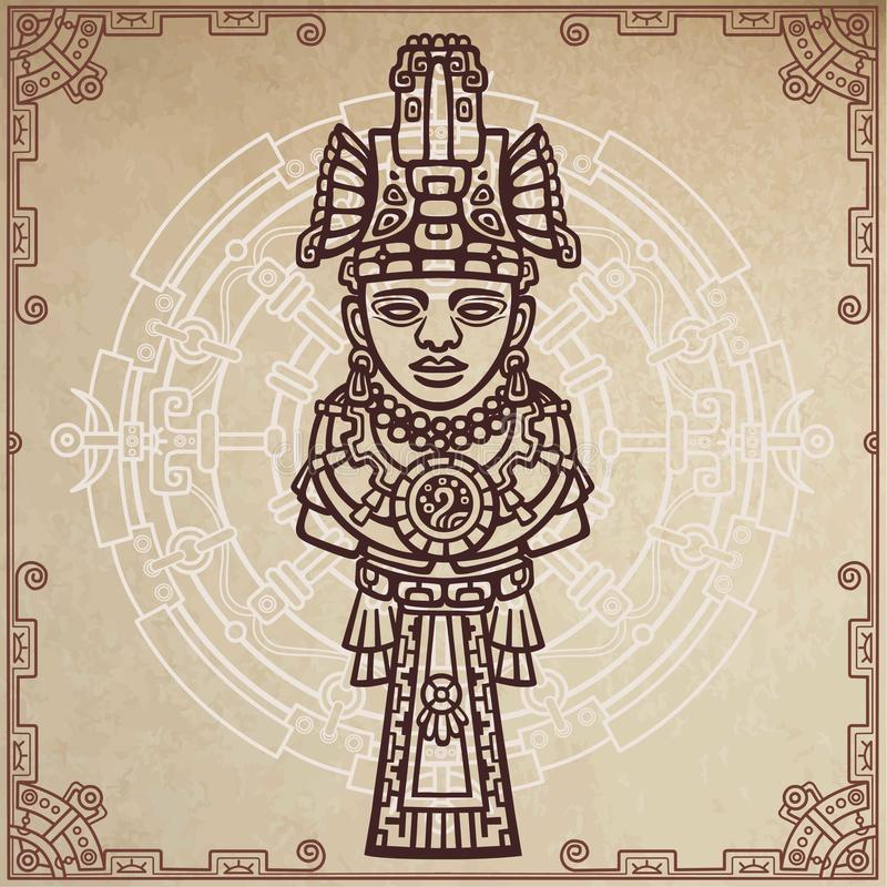 Lineaire tekening: decoratief beeld van oude Indische deity Magische cirkel Een achtergrond - imitatie van oud document vector illustratie