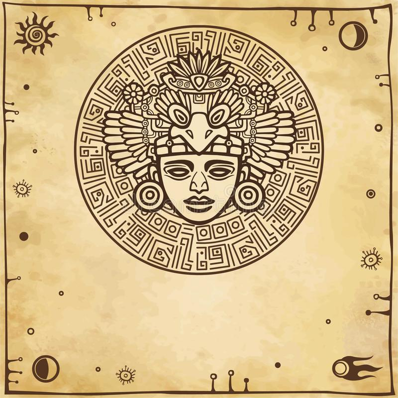 Lineaire tekening: decoratief beeld van oude Indische deity Ruimtesymbolen stock illustratie