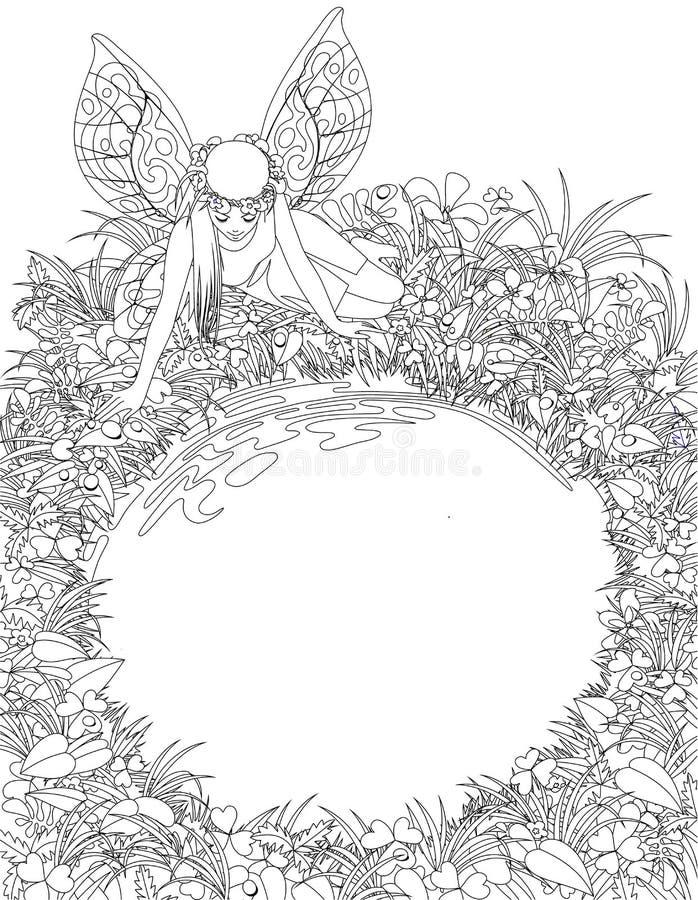 Lineaire tekening van het feemeisje met vleugels dichtbij de ronde vijver stock illustratie