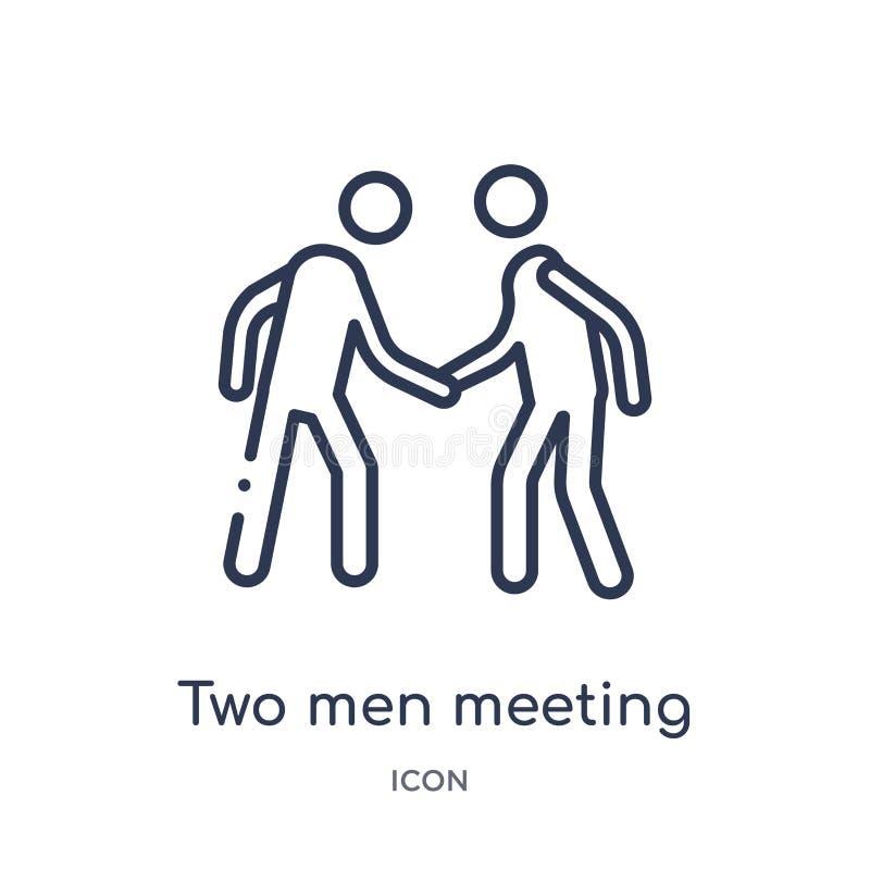 Lineaire twee mensen die pictogram van de inzameling van het Gedragsoverzicht ontmoeten Dunne lijn twee mensen die die vector ont stock illustratie