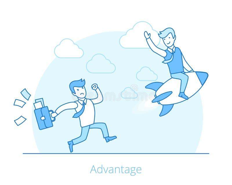 Lineaire Vlakke de raket van de voordeelmens het vliegen Webvector vector illustratie