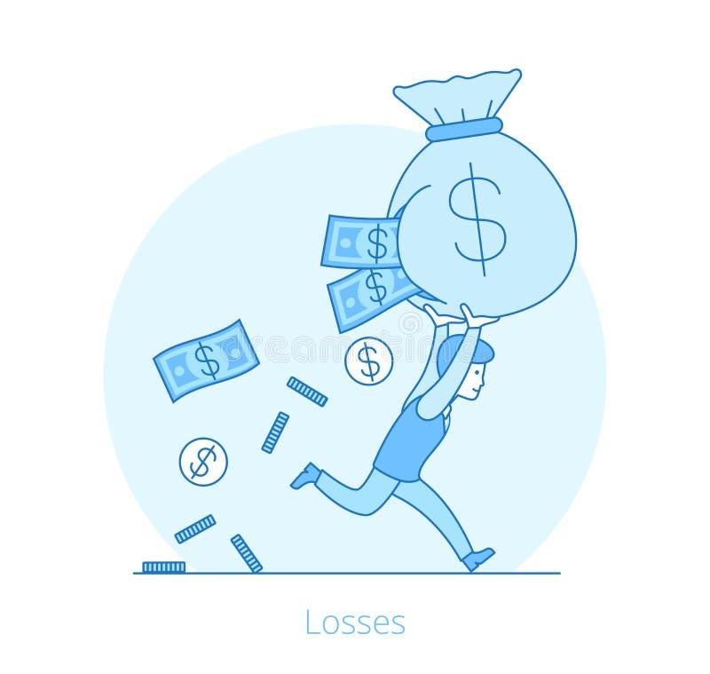 Lineaire Vlakke de zakvector i Verliezen van het Bedrijfsmensengeld royalty-vrije illustratie