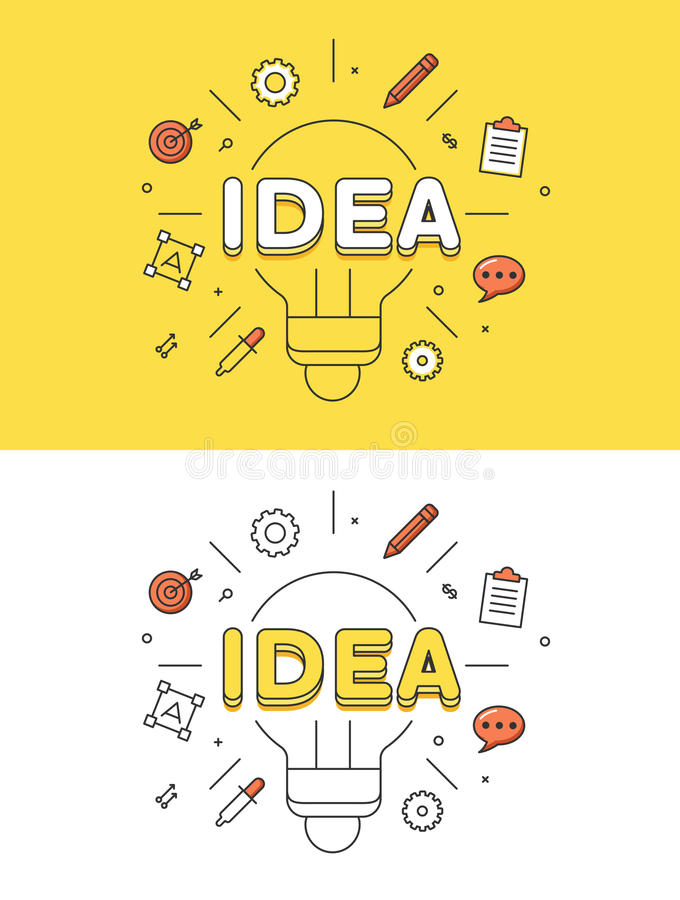 Lineaire Vlakke het beeld vectorzaken van de IDEElamp stock illustratie