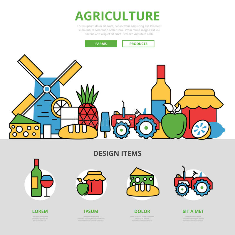 Lineaire vlakke het malplaatjeweb van Landbouwinfographics vector illustratie