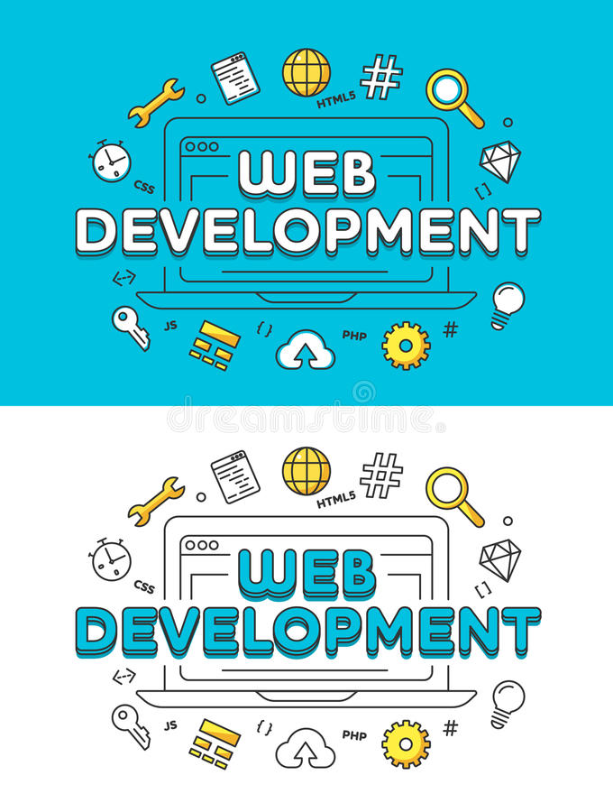 Lineaire Vlakke laptop van de WEBontwikkeling website stock illustratie