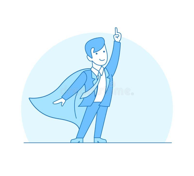 Lineaire Vlakke Superhero-rode de kaapvector i van het puntkostuum stock illustratie