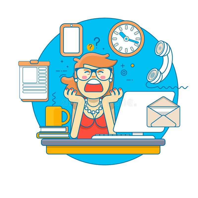 Lineaire vlakte Multitasking Beklemtoonde Bedrijfsvrouw in de Plaats van het Bureauwerk Vector illustratie royalty-vrije illustratie
