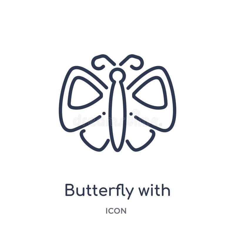 Lineaire vlinder met vleugelspictogram van de inzameling van het Dierenoverzicht Dunne die lijnvlinder met vleugelspictogram op w stock illustratie