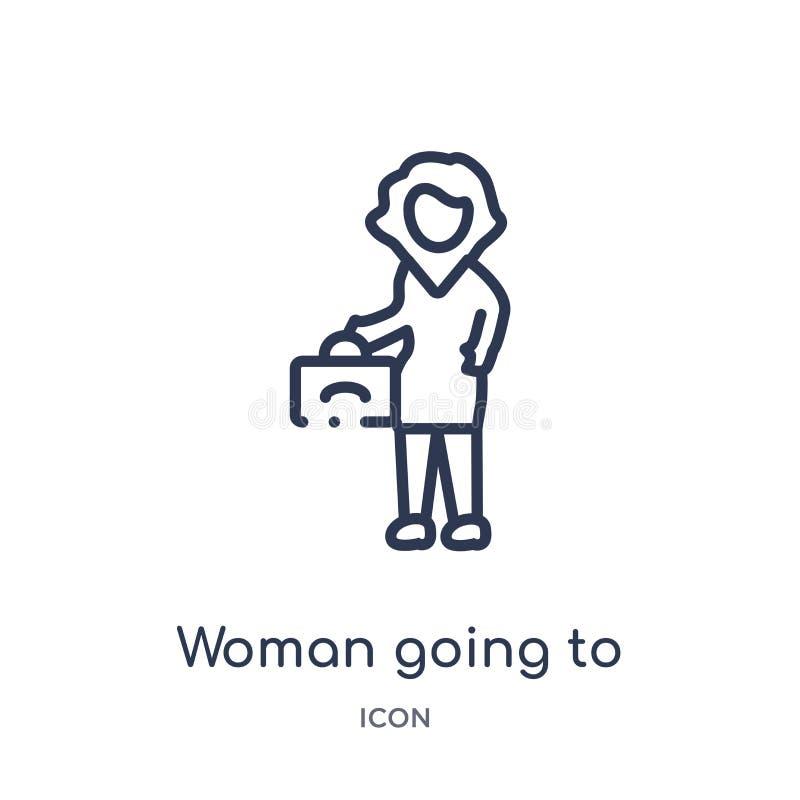 Lineaire vrouw die pictogram van de inzameling van het Damesoverzicht gaan werken Dunne lijnvrouw die geïsoleerd pictogram aan wi vector illustratie
