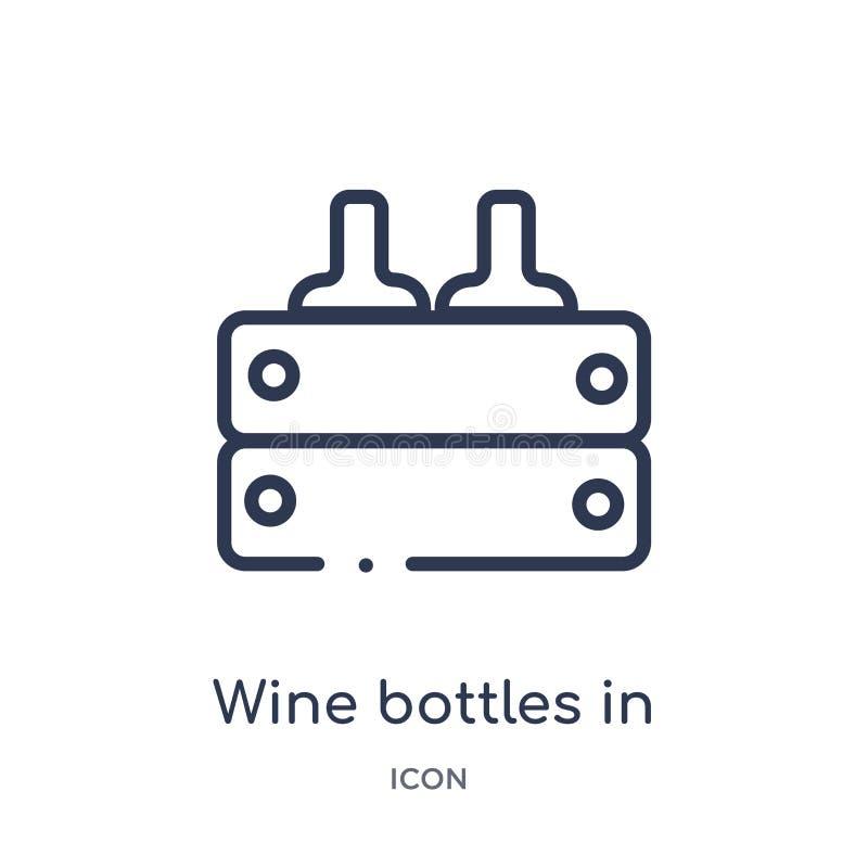 Lineaire wijnflessen in een doospictogram van de inzameling van het Voedseloverzicht De dunne die flessen van de lijnwijn in een  stock illustratie