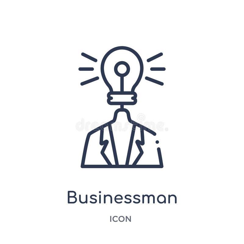 Lineaire zakenman met een ideepictogram van Bedrijfsoverzichtsinzameling Dunne die lijnzakenman met een ideepictogram op wit word royalty-vrije illustratie