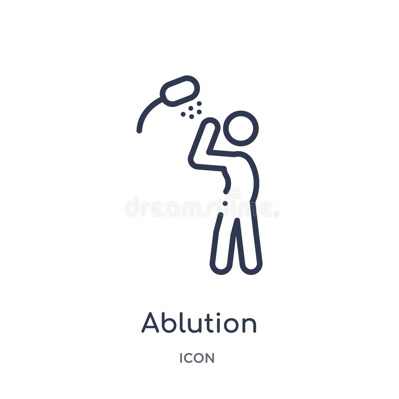 Linear ablution icon from Hygiene outline collection. Thin line ablution icon isolated on white background. ablution trendy vector illustration