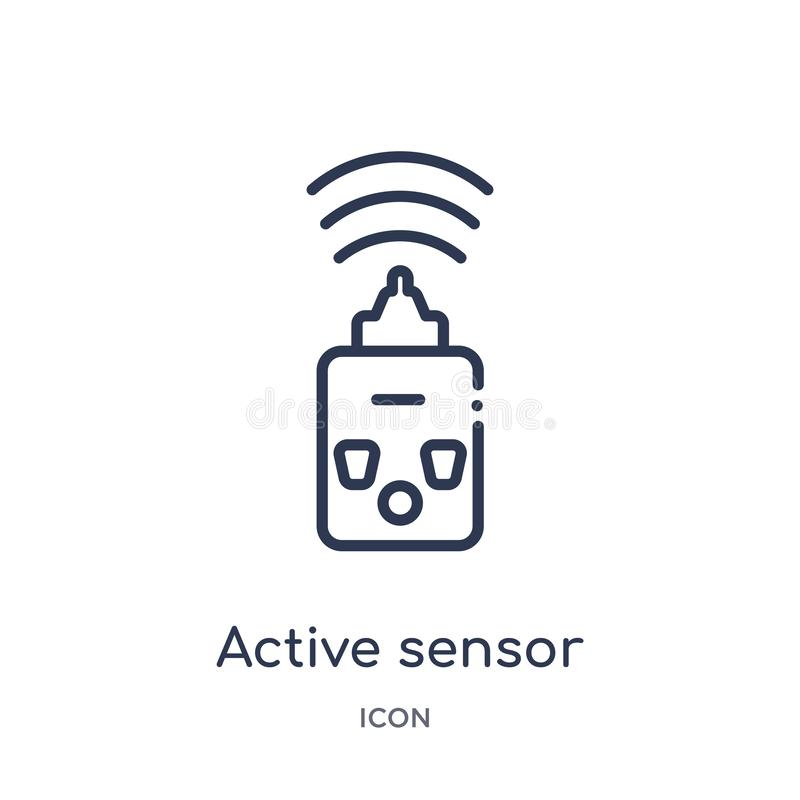 Linear active sensor icon from General outline collection. Thin line active sensor icon isolated on white background. active royalty free illustration