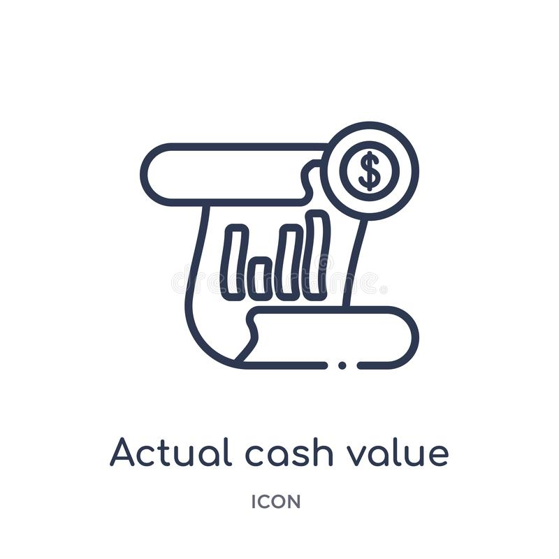 Linear actual cash value icon from Insurance outline collection. Thin line actual cash value icon isolated on white background. stock illustration