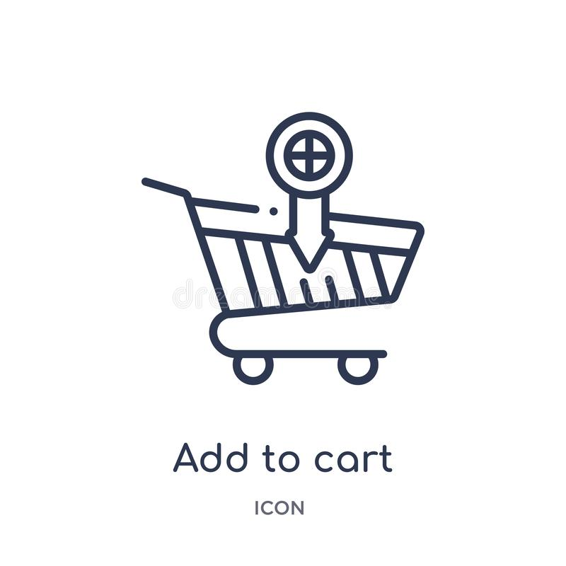 Linear add to cart icon from Commerce outline collection. Thin line add to cart icon isolated on white background. add to cart stock illustration