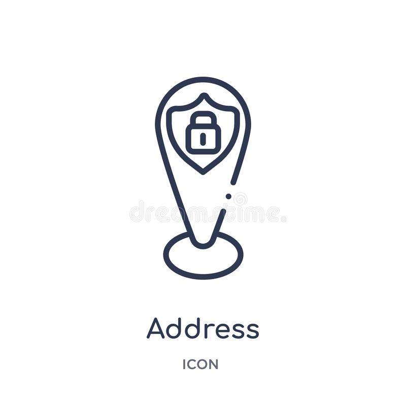 Linear address icon from Gdpr outline collection. Thin line address icon isolated on white background. address trendy illustration. Icon royalty free illustration
