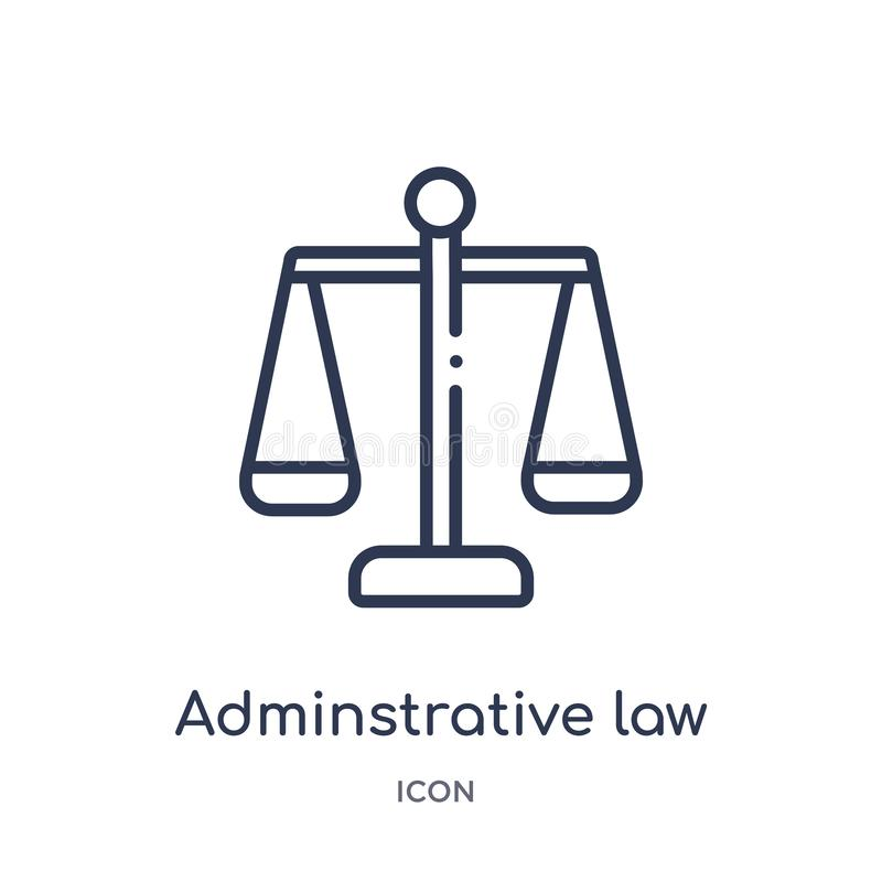 Linear adminstrative law icon from Law and justice outline collection. Thin line adminstrative law icon isolated on white royalty free illustration