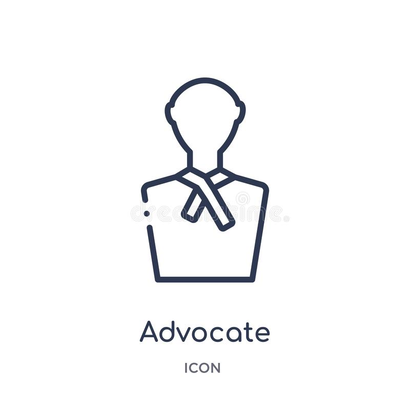 Linear advocate icon from Law and justice outline collection. Thin line advocate icon isolated on white background. advocate. Trendy illustration royalty free illustration
