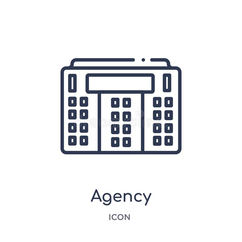 Linear agency icon from Buildings outline collection. Thin line agency icon isolated on white background. agency trendy stock illustration
