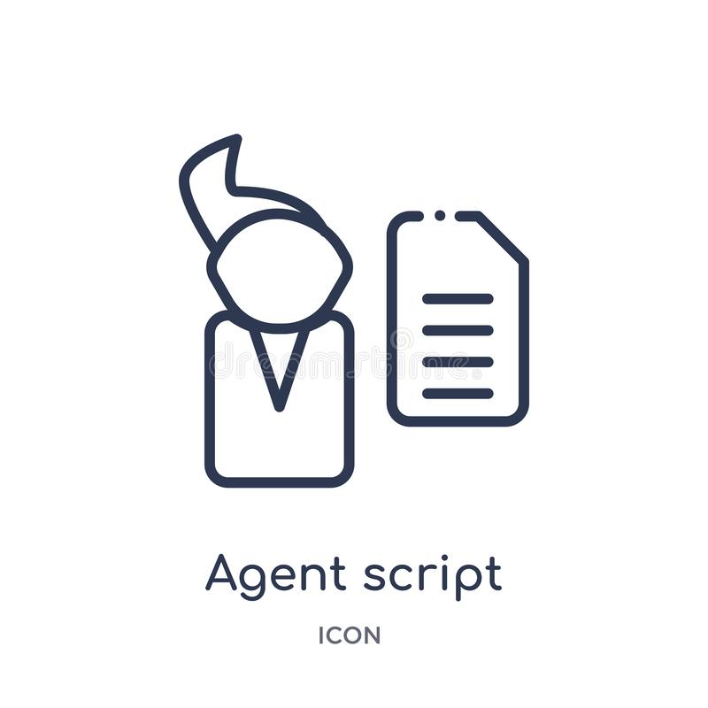 Linear agent script icon from General outline collection. Thin line agent script icon isolated on white background. agent script. Trendy illustration vector illustration