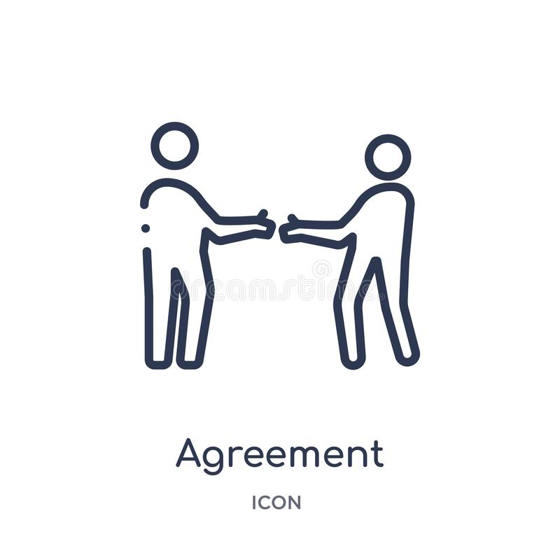 Linear agreement icon from Ethics outline collection. Thin line agreement vector isolated on white background. agreement trendy stock illustration