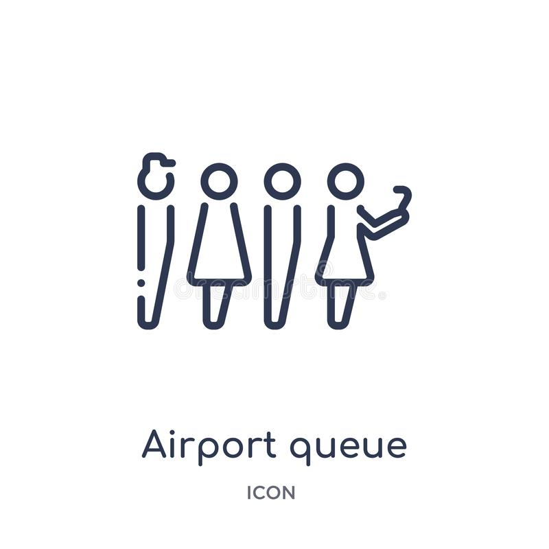 Linear airport queue icon from Airport terminal outline collection. Thin line airport queue vector isolated on white background. royalty free illustration