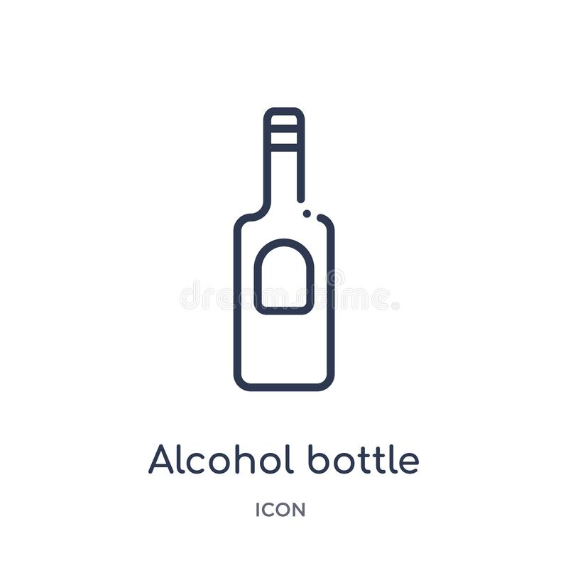 Linear alcohol bottle icon from Desert outline collection. Thin line alcohol bottle vector isolated on white background. alcohol royalty free illustration