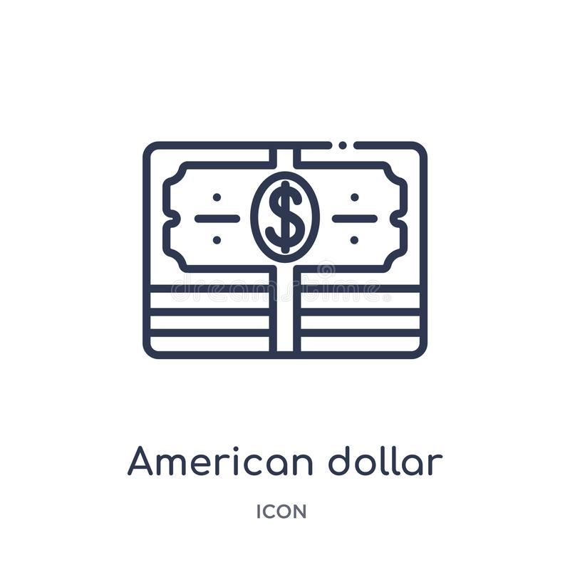 Linear american dollar bill icon from Business outline collection. Thin line american dollar bill icon isolated on white royalty free illustration