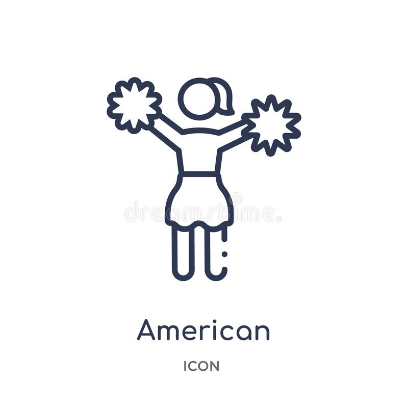 Linear american football cheerleader jump icon from American football outline collection. Thin line american football cheerleader stock illustration
