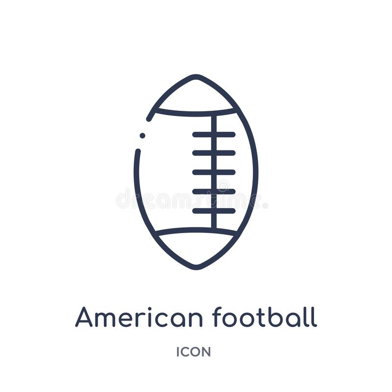Linear american football icon from American football outline collection. Thin line american football vector isolated on white royalty free illustration