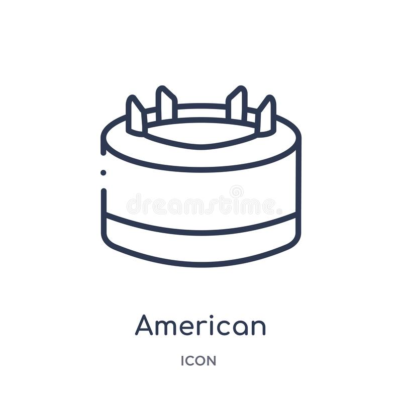 Linear american football tee icon from American football outline collection. Thin line american football tee vector isolated on royalty free illustration