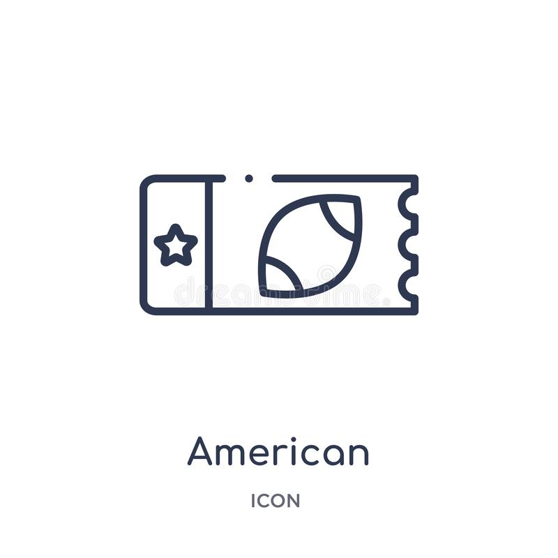 Linear american football ticket icon from American football outline collection. Thin line american football ticket vector isolated stock illustration