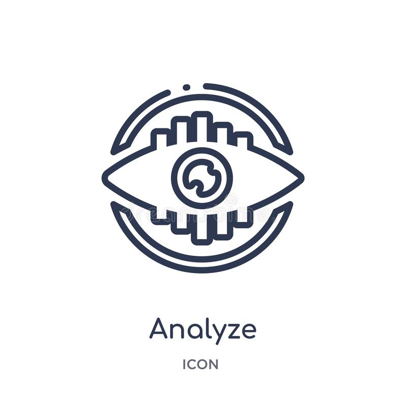 Linear analice el icono de la colección del esquema del márketing La línea fina analiza el icono aislado en el fondo blanco anali libre illustration