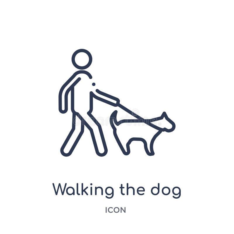 Linear andando o ícone do cão da coleção do esboço do comportamento Linha fina que anda o vetor do cão isolado no fundo branco ilustração stock