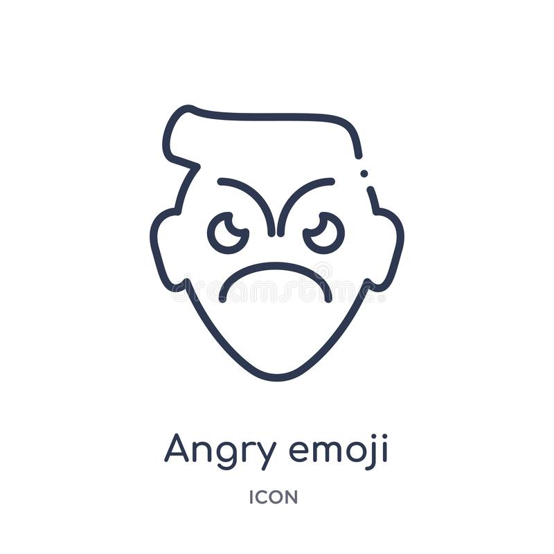 Linear angry emoji icon from Emoji outline collection. Thin line angry emoji vector isolated on white background. angry emoji. Trendy illustration royalty free illustration