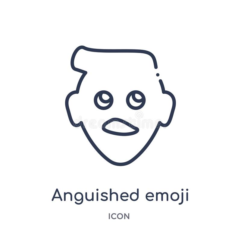 Linear anguished emoji icon from Emoji outline collection. Thin line anguished emoji vector isolated on white background. vector illustration