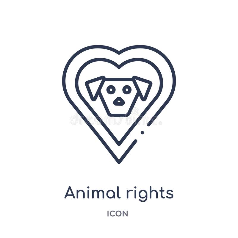 Linear animal rights icon from Charity outline collection. Thin line animal rights vector isolated on white background. animal stock illustration