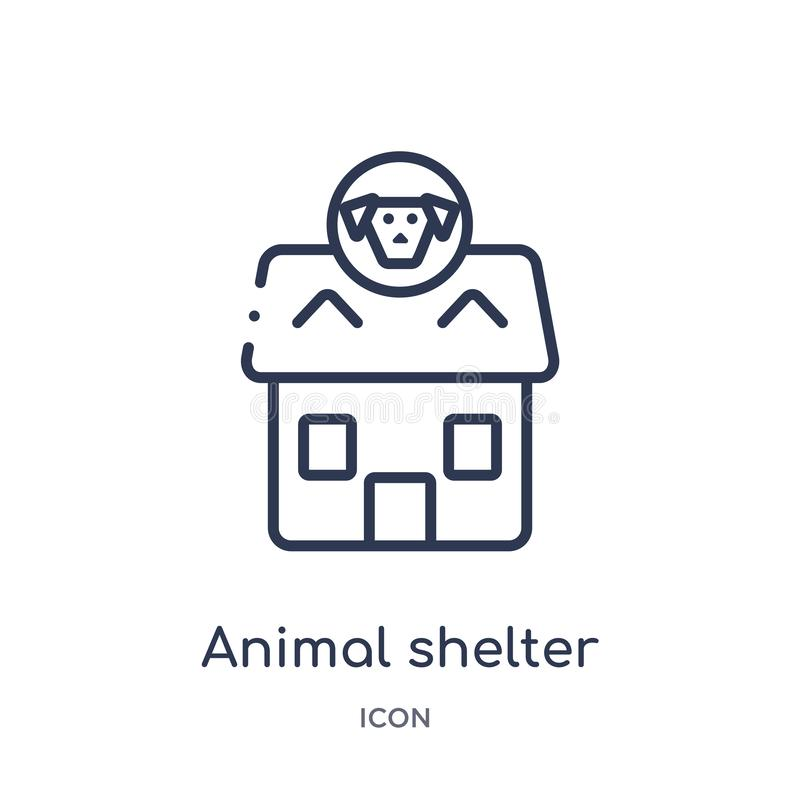Linear animal shelter icon from Charity outline collection. Thin line animal shelter vector isolated on white background. animal. Shelter trendy illustration vector illustration
