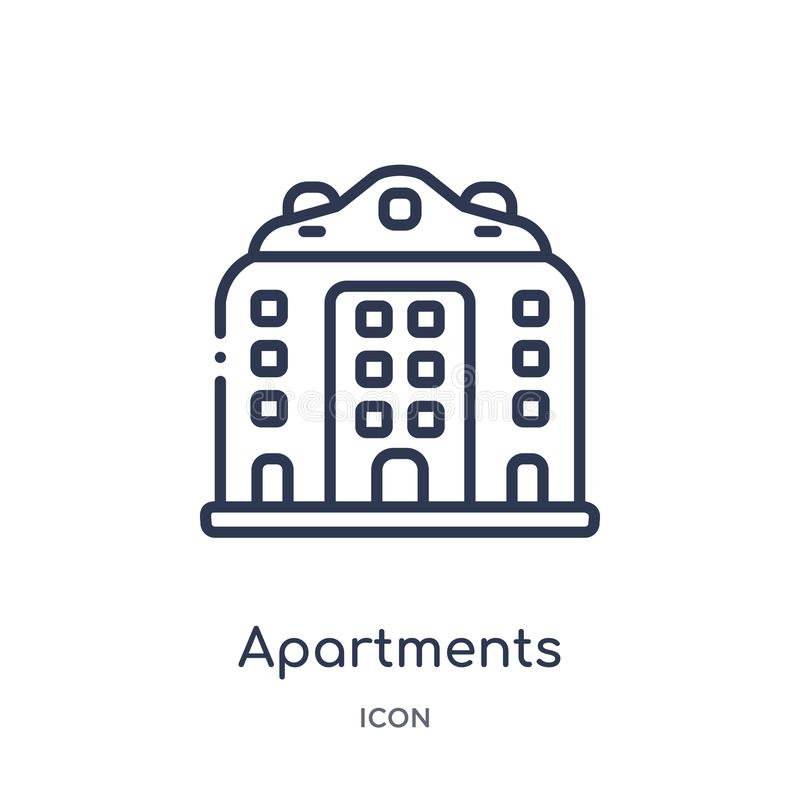 Linear apartments icon from Architecture and travel outline collection. Thin line apartments vector isolated on white background. Apartments trendy stock illustration