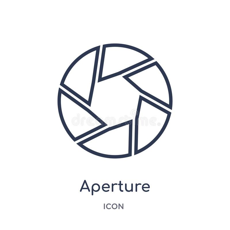 Linear aperture icon from Electronic stuff fill outline collection. Thin line aperture vector isolated on white background. Aperture trendy illustration stock illustration