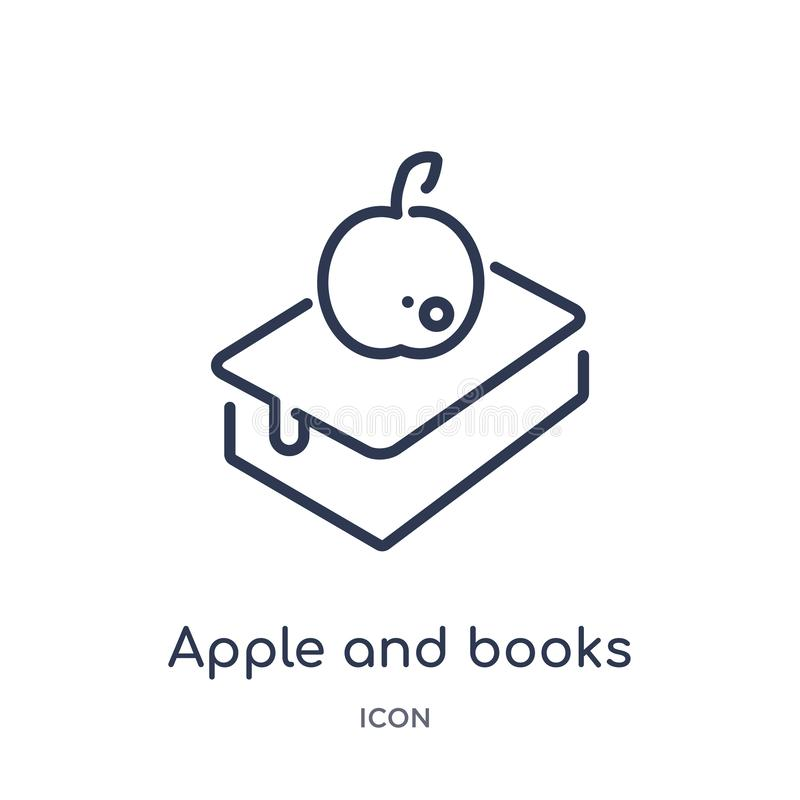 Linear apple and books icon from Ecology outline collection. Thin line apple and books vector isolated on white background. apple royalty free illustration