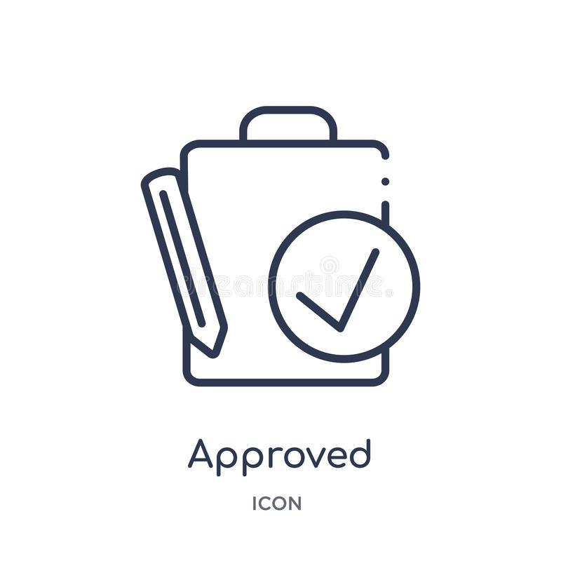 Linear approved icon from Human resources outline collection. Thin line approved icon isolated on white background. approved stock illustration
