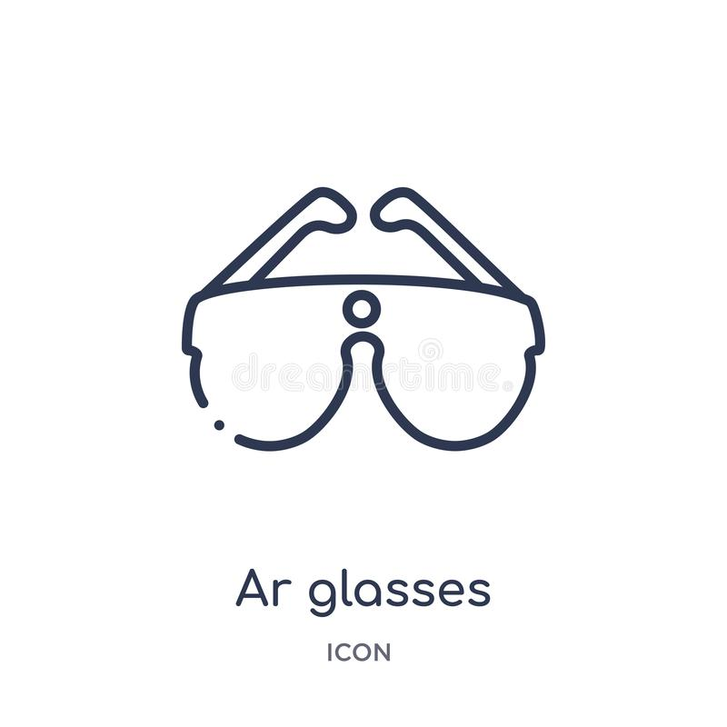 Linear ar glasses icon from Future technology outline collection. Thin line ar glasses icon isolated on white background. ar vector illustration