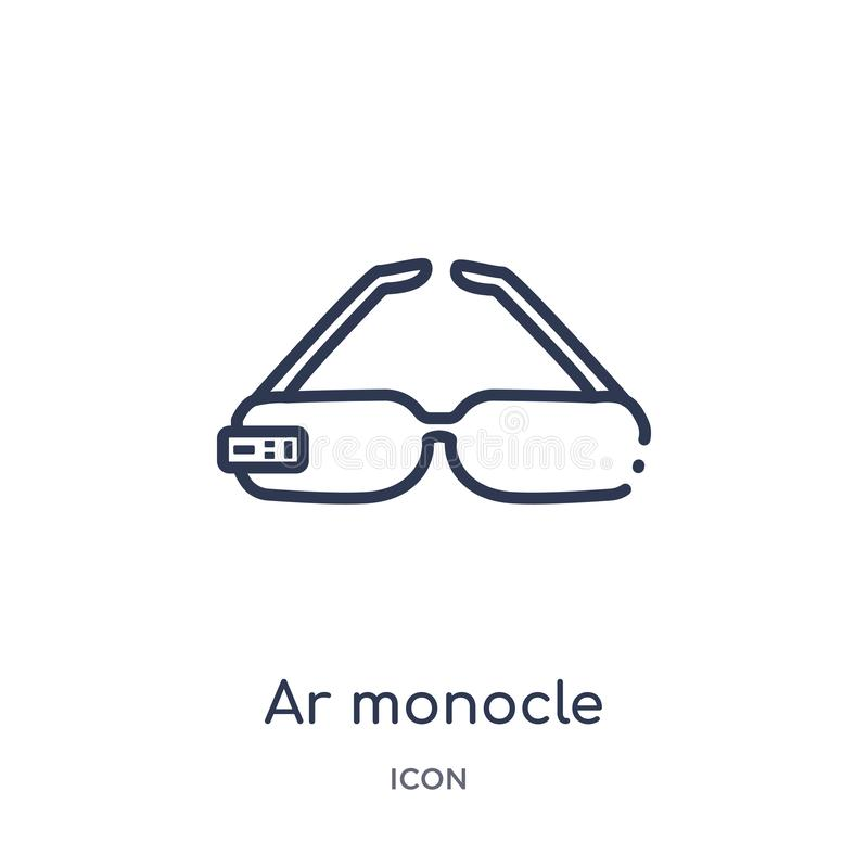 Linear ar monocle icon from Artificial intellegence and future technology outline collection. Thin line ar monocle vector isolated. On white background. ar vector illustration