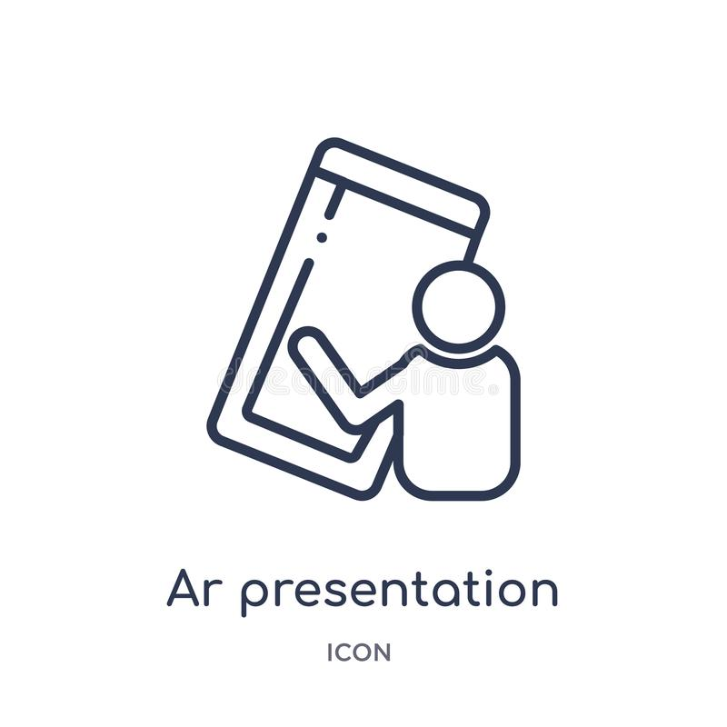 Linear ar presentation icon from General outline collection. Thin line ar presentation icon isolated on white background. ar stock illustration