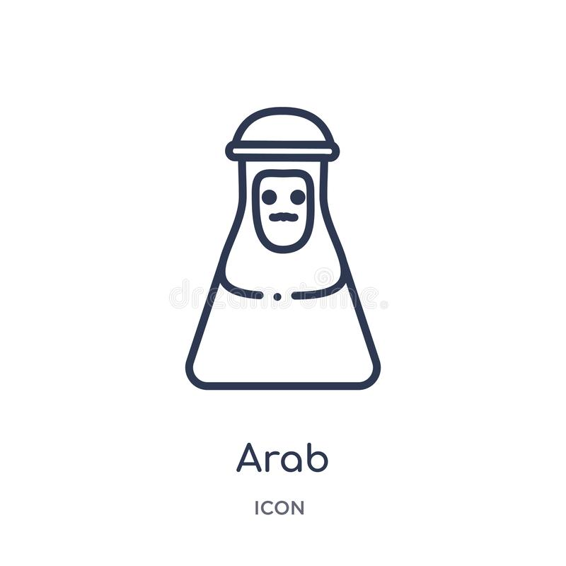 Linear arab icon from Desert outline collection. Thin line arab vector isolated on white background. arab trendy illustration vector illustration