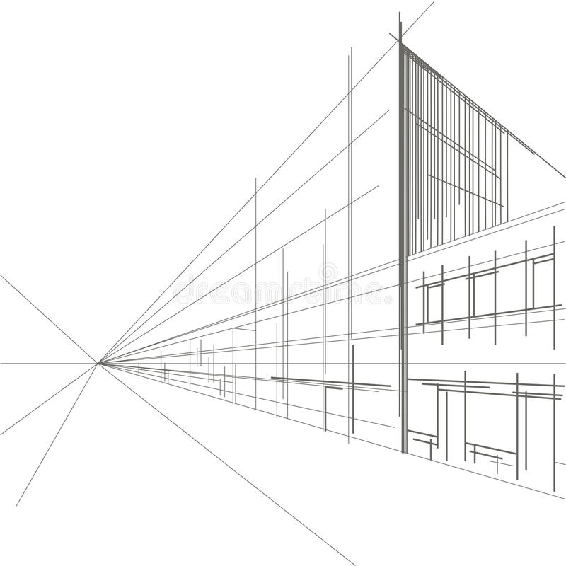 Linear architectural sketch perspective of street vector illustration